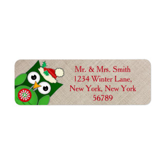 Custom Christmas Owl Return Address Labels