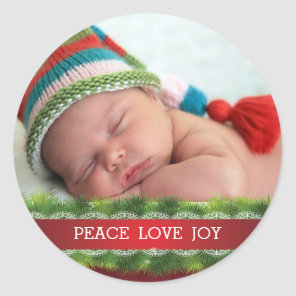 Custom Christmas Peace Love Joy Photo Sticker