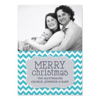 Custom Christmas Photo Card in Aqua & Chevron