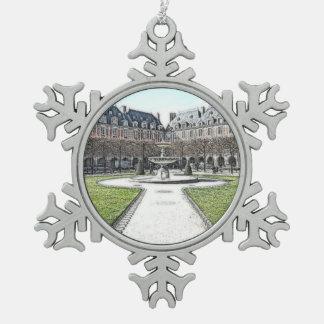 Custom Christmas Place Des Vosges Paris Snowflake Pewter Christmas Ornament