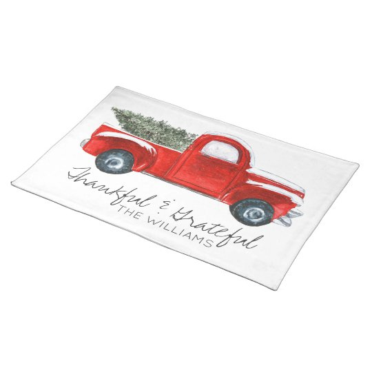 Vintage Red Truck Christmas Placemats.Custom Christmas Place Mats Vintage Red Truck