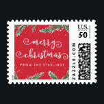 """Custom Christmas Postage Stamps Red 