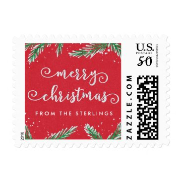 Christmas Themed Custom Christmas Postage Stamps Red | Glitter Look
