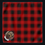 """Custom Christmas Red and Black Plaid Photo Frame Bandana<br><div class=""""desc"""">Fun Christmas holiday photo frame template with a red plaid pattern background. Copyright © Angi Laframboise.</div>"""
