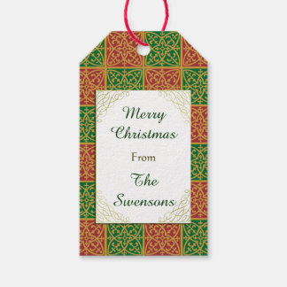 Custom Christmas Red Green Fleur-de-lis Gift Tag Pack Of Gift Tags