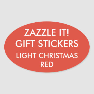 Custom CHRISTMAS RED OVAL Card & Gift Stickers