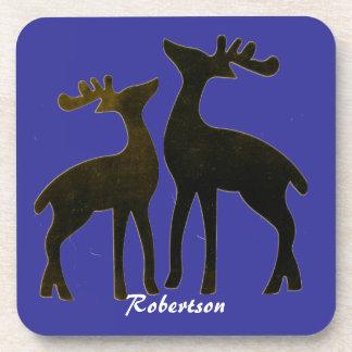 Custom Christmas Reindeer Cork Coasters