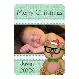 Custom Christmas Santa Bear Photo Greeting Card