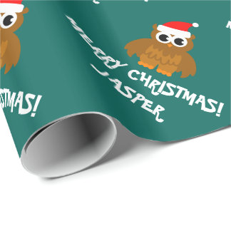 Custom Christmas Santa owl wrapping paper for kids
