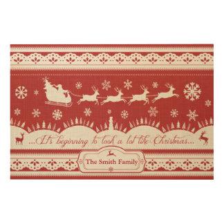 Custom Christmas Santa Sleigh Linen Wood Canvas