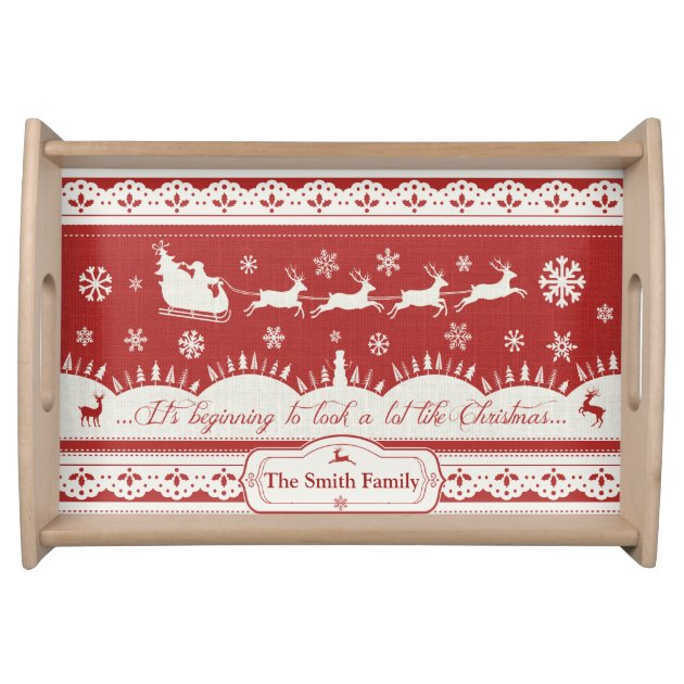 Custom Christmas Santa Sleigh Serving Tray Zazzle Com