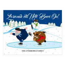 Custom Christmas scene, Olentzero ice skating, Postcard