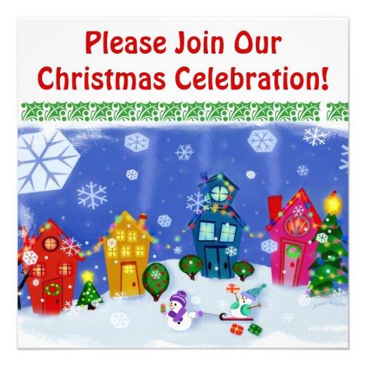 custom christmas snow day party invitation 5 25 u0026quot  square invitation card