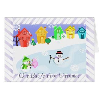 Custom Christmas Snowman Family Photo Card