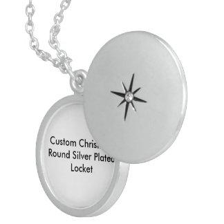 Custom Christmas Sterling Silver Round Locket