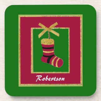 Custom Christmas Stocking Cork Coasters