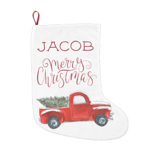 Custom Christmas Stocking - Vintage Red Truck