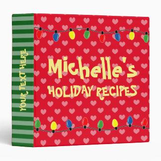 Custom Christmas tree lights Holiday recipe binder
