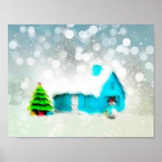 Custom Christmas Tree Snow Man House Poster