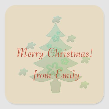 Beach Themed Custom Christmas Tree Stars Holiday Square Sticker