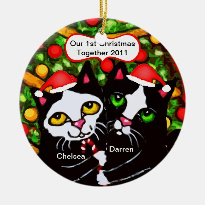 Custom Christmas Tuxedo Cat Couple Ornament