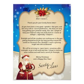 Custom Christmas vintage blue letter from Santa… Magnetic Card