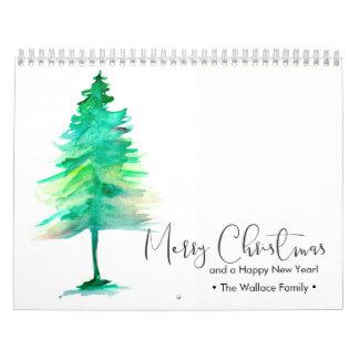 Custom Christmas Watercolor Pine Personal Photos Calendar
