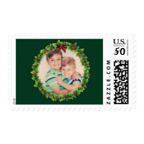 Custom Christmas Wreath Add Your Own Photo Green Postage