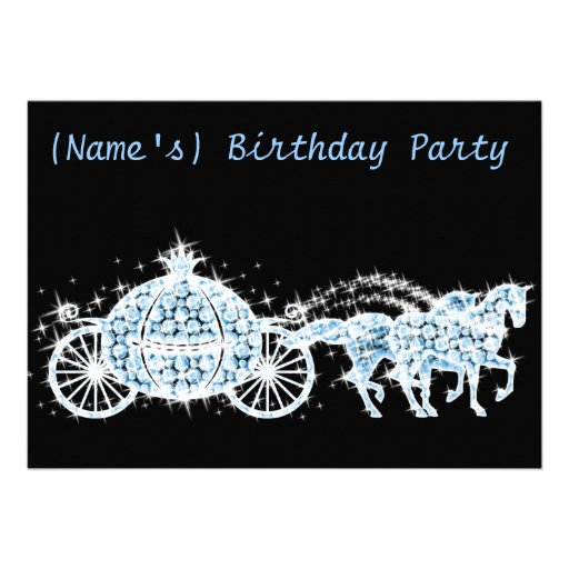 Personalized cinderella sweet 16 party invitations custom cinderellas carriage birthday party invite filmwisefo