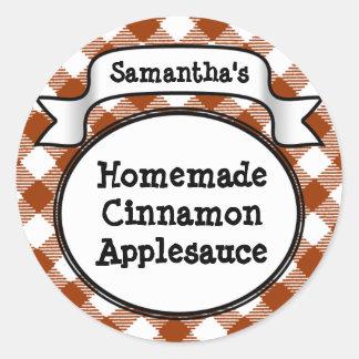 Custom Cinnamon / Applesauce Canning Jar Label Classic Round Sticker