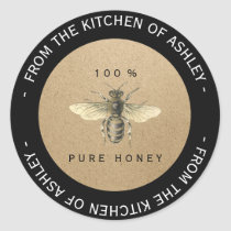 Custom Circular Homemade Honey Kitchen Kraft Bee Classic Round Sticker