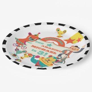 Custom Circus Acts Birthday Paper Plates