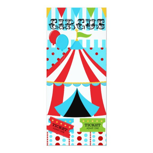 "Custom Circus Birthday Invitation 4"" X 9.25"" Invitation Card"