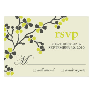:custom: citrus cherry blossom rsvp card large business cards (Pack of 100)