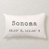 Custom City Coordinates Throw Pillow | Ivory
