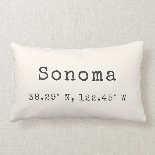 Custom City Coordinates Throw Pillow  Ivory