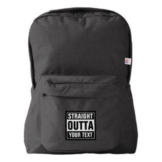 Custom city name STRAIGHT OUTTA black backpack