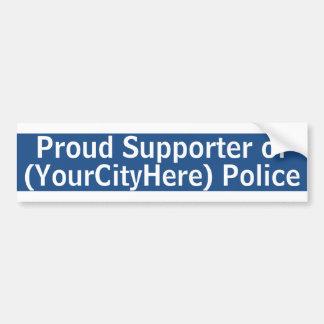 Custom City Police Supporter Bumper Sticker
