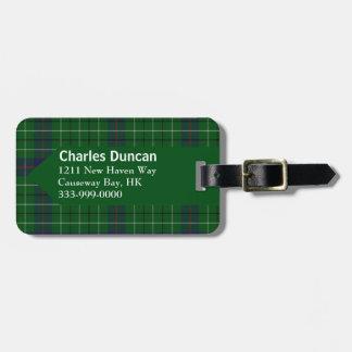 Custom Clan Duncan Tartan Plaid Luggage Tag