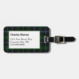 Custom Clan Murray Tartan Plaid Luggage Tag