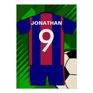 Custom Claret and Blue Football Soccer Jersey Poster