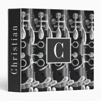 Custom Clarinet Monogram and Name Black and White 3 Ring Binder