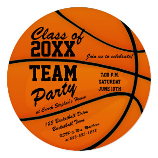 Custom Class of 2016 Basketball Team Party Card