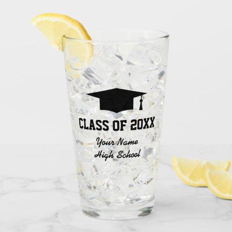 Custom class of 2021 graduation party drink glass