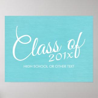 Custom Class of for Graduation or Reunion Aqua Poster