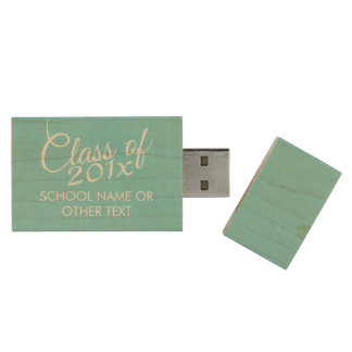 Custom Class of for Graduation or Reunion Aqua Wood USB Flash Drive
