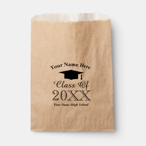Custom class of high school graduation party favor bag