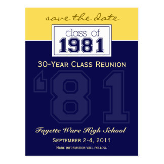 custom Class Reunion Save-the-Date Announcement Post Cards