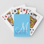 "Custom Classic Baby Blue Monogram Playing Cards<br><div class=""desc"">This classic and simple custom baby blue monogram design is perfect for the modern and stylish woman. It&#39;s chic and contemporary print is great for any gift. Just customize this personal monogram with your own name. You can also customize the text and colors by clicking on &quot;customize it&quot;.</div>"
