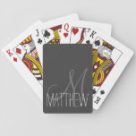 "Custom Classic Black and White Monogram Playing Cards<br><div class=""desc"">This classic and simple custom black, gray, and white monogram design is perfect for the modern and stylish individual. It&#39;s chic and contemporary print is great for any gift. Just customize this personal monogram with your own name. You can also customize the text and colors by clicking on &quot;customize it&quot;....</div>"
